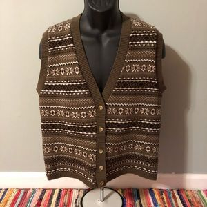 80s Sweater Vest Snowflake Pattern Button Brown